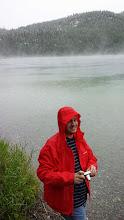 Photo: Simon trying his new rain jacket