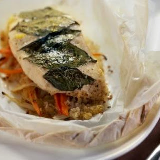 Halibut En Papillote With Quinoa and Root Vegetables