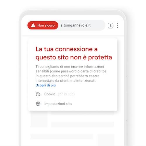 Un telefono con una notifica relativa alla sicurezza della connessione