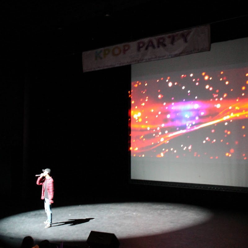 Kpop Party performance - one performer on stage in spotlight with screen and light show in background