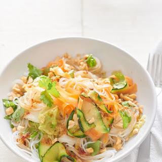 No-Chop Cold Veggie Noodle Bowls With Soy Lime Vinaigrette.