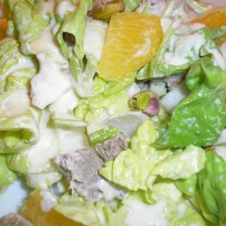 Mixed Greens and Roast Duck Salads with Lemon-Cream Dressing