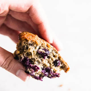 Healthy High Protein Lemon Blueberry Muffins.