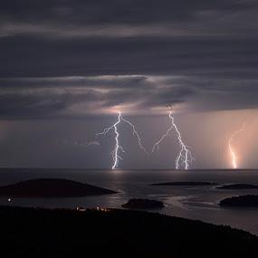giraffes by Ante Buric - Landscapes Weather ( giraffes solta island dalmatia croatia adriatic sea )