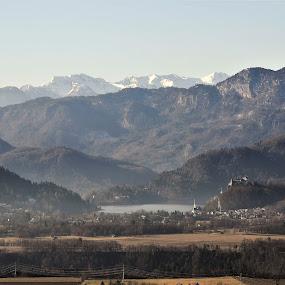 Lake Bled by Renata Peterman - Landscapes Mountains & Hills ( hills, mountains, winter, lake, view, landscape )