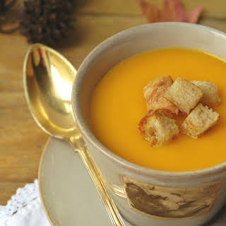 Cream of Carrot and Pumpkin Soup with Croutons.