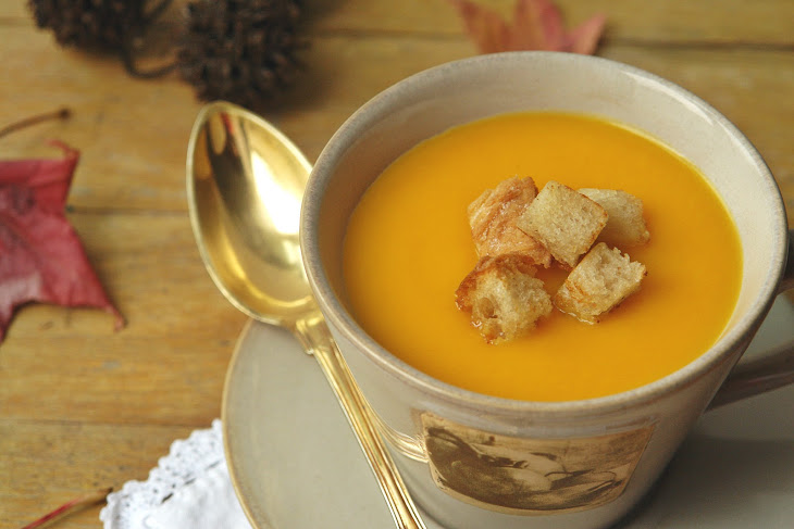 Cream of Carrot and Pumpkin Soup with Croutons Recipe