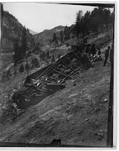Photo: Southbound RGS train #8, day after May-17-1912 wreck; cars burned overnight.   Mercer-Kirkham-Turner Collection