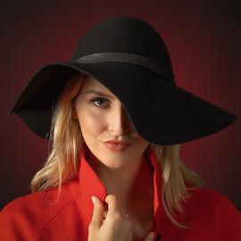 Lady in Black Hat by Kevin Davis - People Portraits of Women ( studio portrait, beautiful eyes, hat, portrait,  )