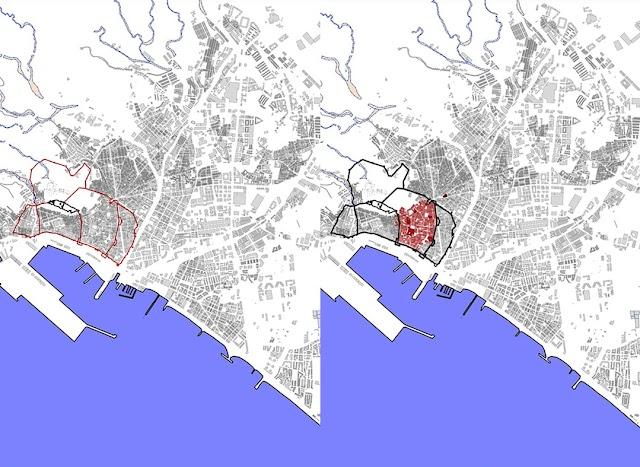 A la izquierda, los orígenes y, a la derecha, la ciudad contrarreformista.