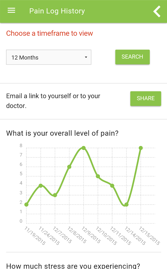 ACPA Pain Logs- screenshot