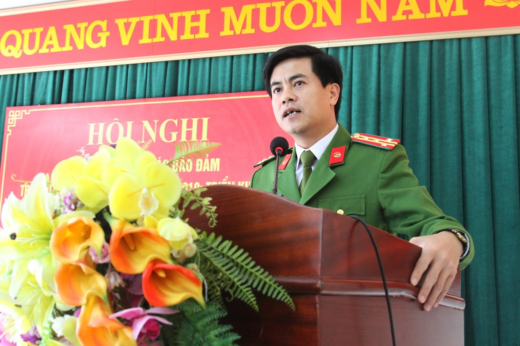 Đồng chí Đại tá Nguyễn Đức Hải, Phó Giám đốc Công an tỉnh phát biểu chỉ đạo