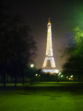 Photo: Mandatory tourist picture of the Eiffel Tower in full sparkle (for 10 minutes at the top of every evening hour).
