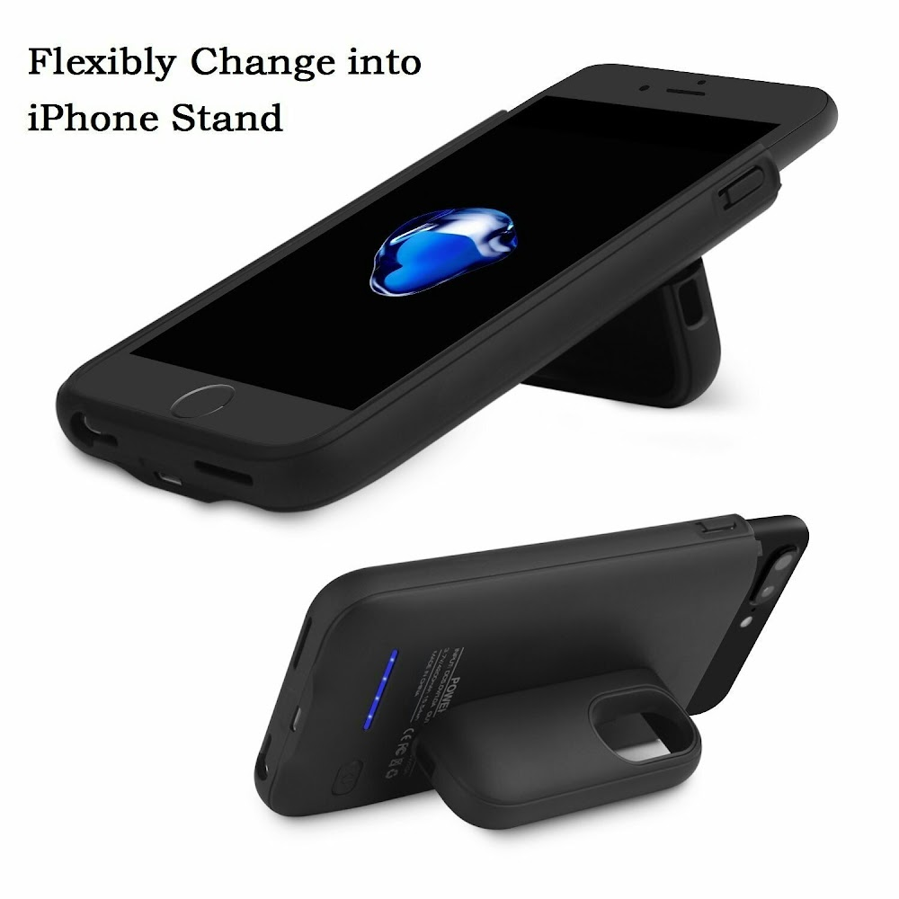 Battery Charger Case for iPhone, 3000-4200Mah Portable Cover Charger Power Bank Charging Apple Phone with Smart Power Control and Ultra Protection , Magnet Bracket