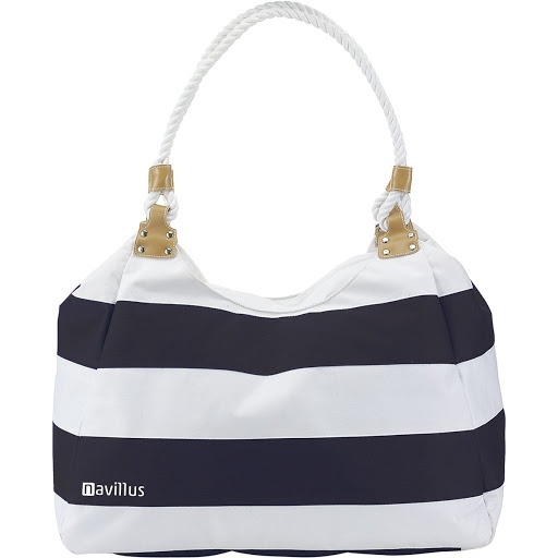 Large Striped Travel Bag with Rope Handles