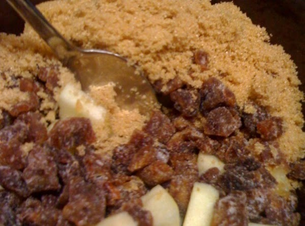 In a medium bowl, mix apples, dates, 1/4 c. brown sugar and cinnamon; Set...