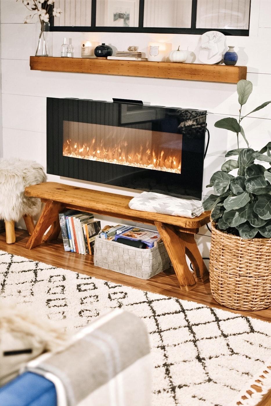 a well-lit digital fireplace