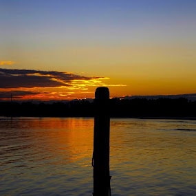 Sunset by Bradley Rasmussen - Novices Only Landscapes ( water, port macquarie, pylon, harbor, sunset )