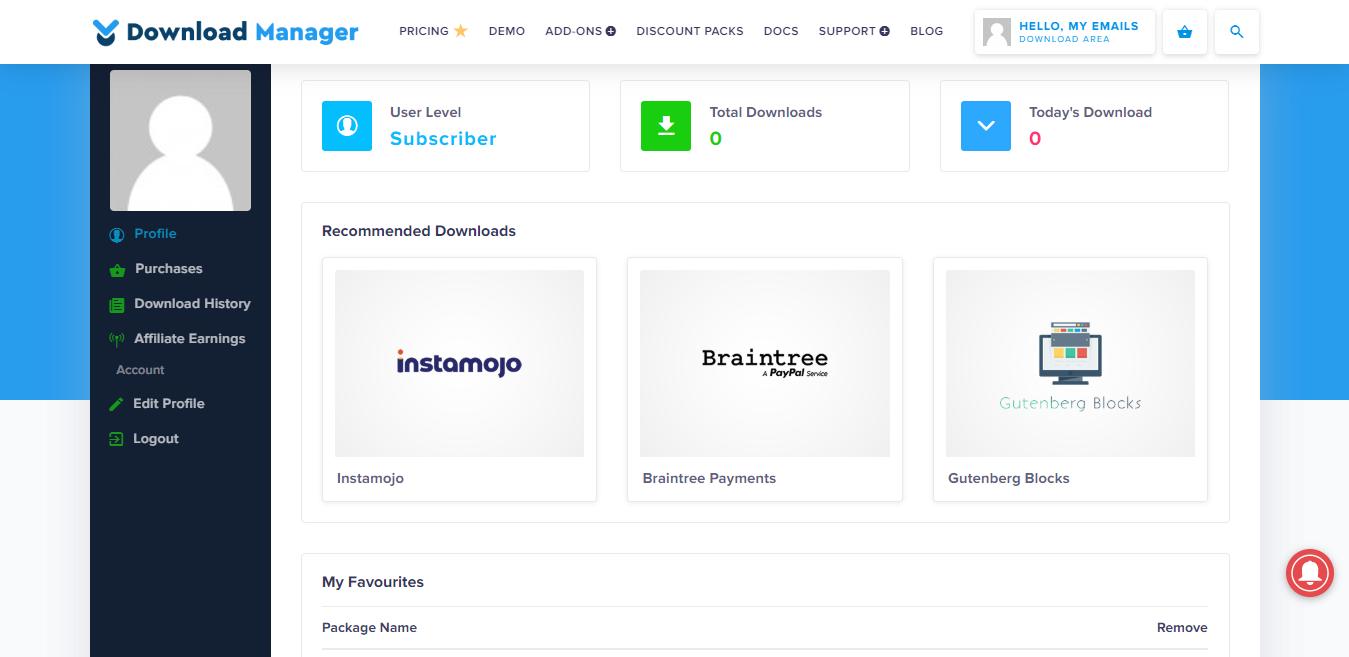 WordPress Download Manager interface