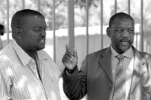 PEEVED: Jacob Motsepe, right, and Topllo Mabona of Soweto Funeral Undertakers Association. Pic. Mbuzeni Zulu. 06/03/2007. © Sowetan.