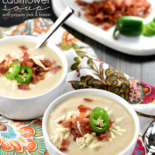 Slow Cooker Cauliflower Soup with Pepper Jack & Bacon.