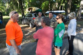 Photo: Edwin tells Jimmy about the Ichetucknee paddle