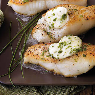 Pan-Roasted Sea Bass with Garlic Butter.