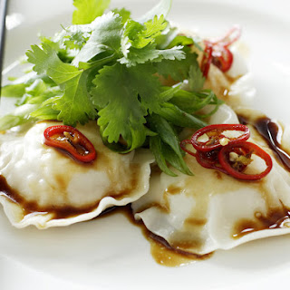 Seafood Ravioli with Sesame Dressing.