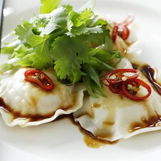 Seafood Ravioli with Sesame Dressing.
