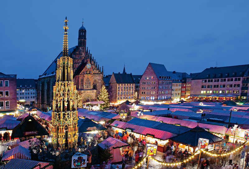 The heady aromas of bratwurst, Glühwein and ginger cookies rise from striped awnings at Nuremberg's Christkindlesmarkt