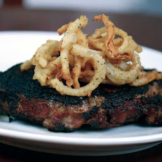 BLACKENED RIBEYE with Buttermilk Onion Rings