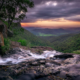 Morans Falls Sunset by Matthew Wood - Landscapes Forests ( beautiful, waterfall, cascade, sunset, rainforest, australia, colourful, clouds )