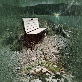 The Rain Storm by Pam Blackstone - Digital Art Places ( thunder, lightning, bench, rain storm, beach, storm, rain )