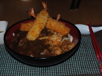 Curry Udon With Breaded Fried Shrimp Recipe