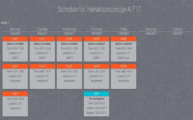 IxD Schedule Style