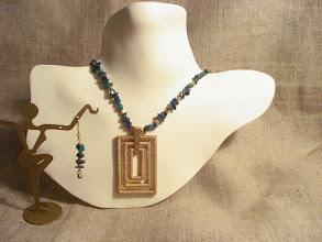 Photo: <BEREHYNYA> {Great Goddess Protectress} unique one-of-a-kind statement jewellery by Luba Bilash ART & ADORNMENT  Chrysocolla, 14K gold vermeil, brass SOLD/ПРОДАНИЙ