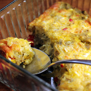 Egg And Cheese Casserole With Artichoke Hearts And Feta.