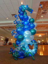 Photo: 7' tall Sea Horse balloon sculpture design by the Awesome Chris Horne CBA, a few extra details by us for the Under the Sea themed Grand Haven High School Prom 2011 at Trillium Banquet Hall, Spring Lake, Michigan. Awesome place, love the LED ceiling!