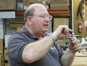 Photo: Carl Powell shows his bolt with threads that fit his chuck.