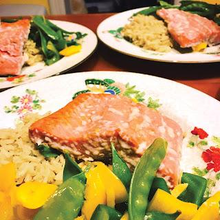 Bone Broth Rice with Sheet Pan Salmon and Veggies.