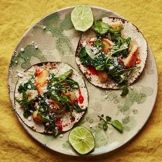 Rutabaga Tacos with Greens and Queso Fresco.