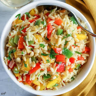 Orzo with Onions, Garlic and Peppers.