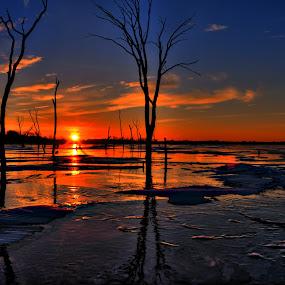 by DE Grabenstein - Landscapes Sunsets & Sunrises ( lake ice, sunrise, nebraska )