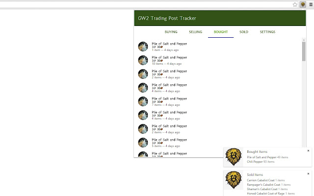 Guild Wars 2 Trading Post Tracker