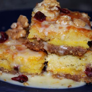 Amaretto Cranberry Bars With Orange Glaze