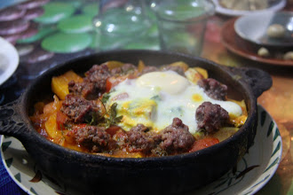 Photo: Minced meat tagine with an egg. Nothing like a hot meal when it's freezing cold and wet.
