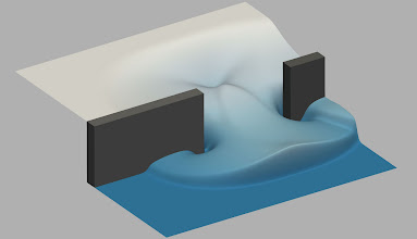 Photo: 6. Numerical simulation of flooding following a dam breach.  Dr Christian T. Jacobs, Department of Earth Science and Engineering, Imperial College London.  A visualisation of a numerical simulation of flooding following a dam breach. The setup considers a high-level of water that is initially held back by a dam wall (shaded grey). A 75 metre-wide breach in the wall is then considered, through which water rushes into the lower section to form a tidal bore wave. Swirling vortices are visible near the corners of the breach. The simulation was performed on Archer using a computational fluid dynamics code called Firedrake-Fluids to validate the numerical model. Such simulations can also be used to demonstrate how a catastrophic failure of a dam might affect surrounding inhabited areas.