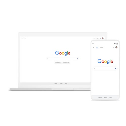 A laptop and phone featuring Google Search