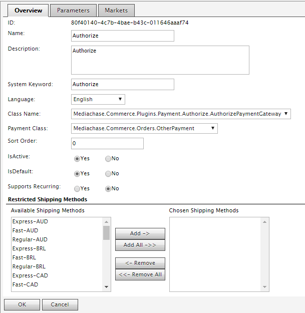 Enable Authorize.net in Commerce Manager