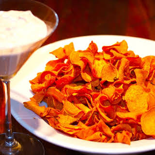 Sweet Potato Chips With Cinnamon-chili-honey-lime Cream.